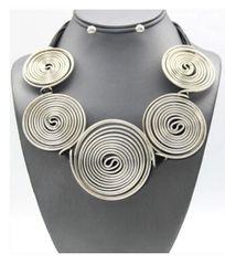 Spiral Silver Necklace Set