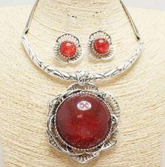 Flower Pendant Necklace Set-Red