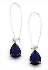 Teardrop Pendant Earrings-Sapphire