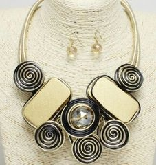 Swirl Necklace Set-Gold