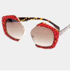 86938abf07a Rhinestone Octagon Red Fashion Glasses