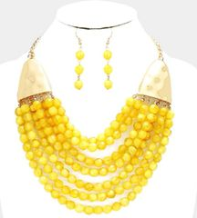 Beaded Yellow/Gold Necklace Set