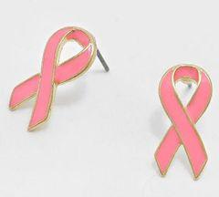 Enamel Gold Trim Post Breast Cancer Awareness Earrings