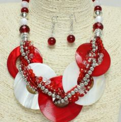 Chunky Shell Braided Necklace & Earring Set-Red&White