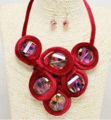 Velvet Crystal Necklace Set-Red