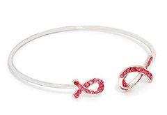 Crystal Cuff Pink Ribbon Awareness - Silver