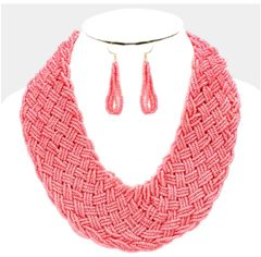 Large Seed Bead Necklace Set-Coral
