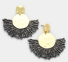 Drop Gold Fan Earrings