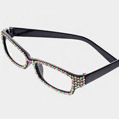 AKA Crystal Readers Rectangular Fashion Eyewear-Pink/Green