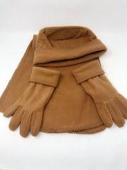 Women's 3 Piece Fleece Hat, Scarf & Glove-Taupe