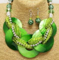 Chunky Shell Braided Necklace & Earring Set-Green