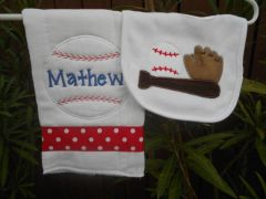 Personalized Baseball Baby Bib and Burp Set