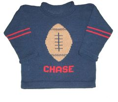 Custom Knit Personalized Football Pullover Sweater for Baby