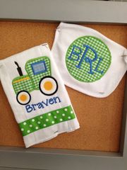 Custom Made Monogrammed Tractor Bib and Burp Set