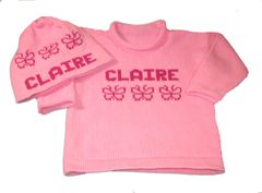 Baby Girl Name Sweater with Butterfly or Bows Motif