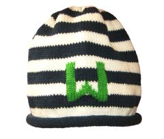Striped Roll Baby Hat with Child's Initial