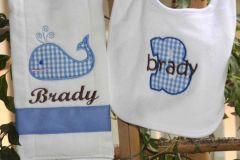 Personalized Whale Bib and Burp Set
