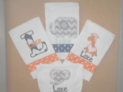 4 pc. Personalized Bib and Burps for Baby Boys
