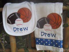 Personalized Sports Baby Bib and Burp Set