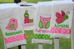 4 pc. Baby Girl Bib and Burp Set