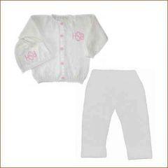 3 Piece Monogrammed Baby Gift Layette Set