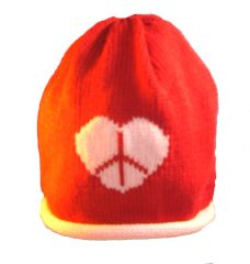 Peace and Love Roll Baby Hat