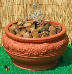 Water Feature Pebble Pool Fountain Garden Patio Outdoor Bowl Terracotta Colour