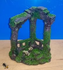 Aquarium Ornament Roman Ruins Columns Skull Moss Fish Tank Decoration