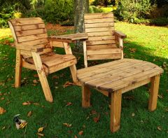 Garden Furniture 2 Chair Love Seat Coffee Table Solid Wood Wooden Hand Made