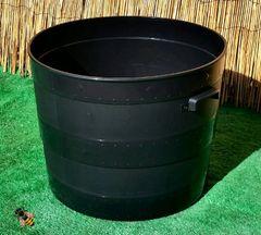 Barrel Planter Plant Pot Blacksmith Plastic Indoor Outdoor Handled Tub Planter