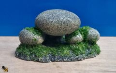 Rock Pebbles with Moss Aquarium Ornament Decoration Fish Bowl Tank