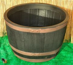 Oak Style Half Barrel Planter Garden Plant Pot Tub Copper Colour Band