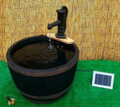 Water Feature Garden Pond Fountain Solar or Mains Pump Barrel Patio Gold Fish