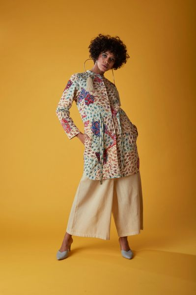 e196ad819a7f Drawstring Jacket up-cycled in Off white block print | Peeli Dori,  Handcrafted lifestlye,Sustainable, Design,Luxury,