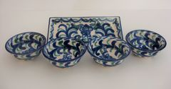 4 Hand painted Spanish Tapas Bowls and matching Platter