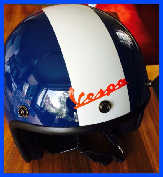 Vespa logo self adhesive vinyl decal for scooter comes in various colours and now in reflective
