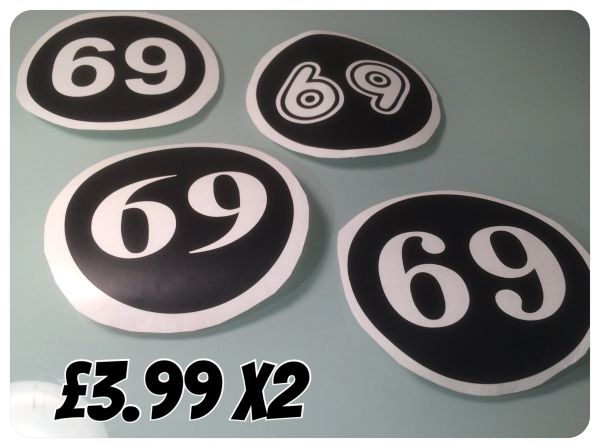 Scooter number decals choose your font numbers colour and finish