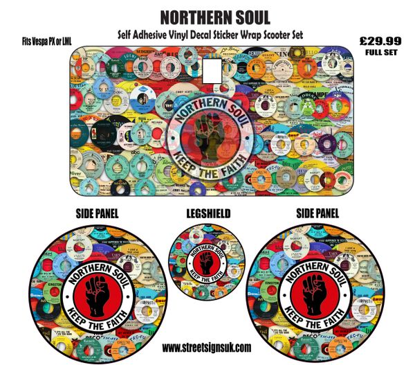Northern Soul self adhesive print and cut vinyl decal sticker scooter set