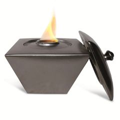 "9"" Square X 8"" High Metallic Black FlamePot with Lid"