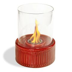 "12"" High X 8"" Diameter Brick Base/Glass Fireplace"