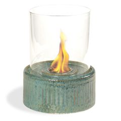 "12"" High X 8"" Diameter Blue Base/Glass Fireplace"