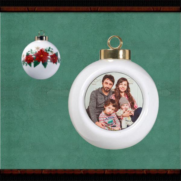 Ceramic Poinsettia Ball Ornament W Photo Insert Thoughtful