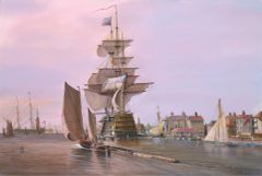 Entering Portsmouth harbor 1835, 16x24 inches, gicle'e high res canvas print signed and dated by artist.