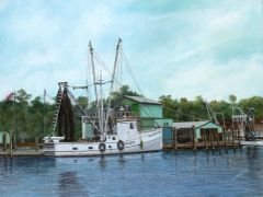 "the white pearl, 18""x 24"" canvas print ,signed and dated by artist. the original was best of show at topsail beach 2015, and was selected by the american society of marine art for entry to the north regional exhibition 2016."