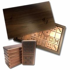 Solid Copper Domino Set - Traditional / Viking Design - Double 9 Set