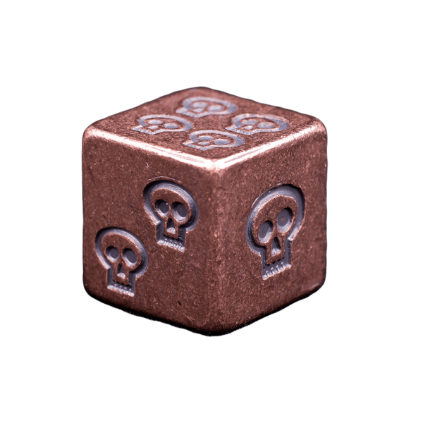 Solid Copper Dice - Skull Design