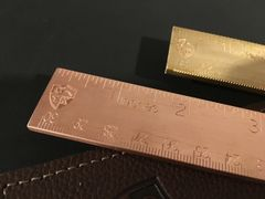 "6"" Solid Brass Ruler with Leather Sheath"