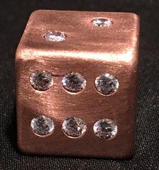 Copper Dice with 21 Inlaid Diamond CZ Stones