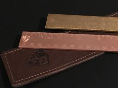 "12"" Solid Copper Ruler with Leather Sheath"