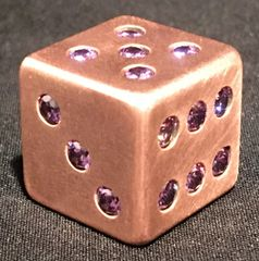 Copper Dice with 21 Inlaid Amethyst CZ Stones